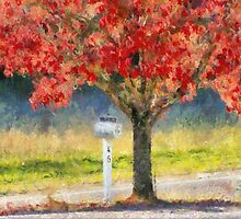 Blazing Bloody Red Dogwood By White Mailbox by Jean Gregory  Evans