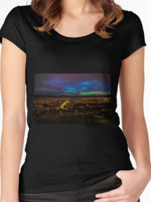 Late Dusk View Of Cuenca From Turi Women's Fitted Scoop T-Shirt
