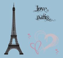 Eiffel Tower, Hearts, Polka Dots - Black Pink Blue  Kids Clothes
