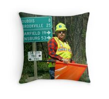 Man at Work Throw Pillow