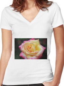 One Colorful Rose Women's Fitted V-Neck T-Shirt