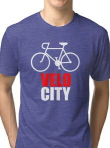 VeloCity Version 2 Red White Tri-blend T-Shirt