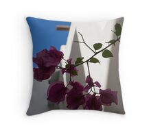 Contemplating Mediterranean Vacations - Whitewashed Walls and Bougainvilleas Throw Pillow