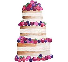 Sweet and tasty cake with berries Photographic Print