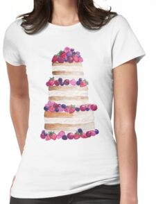 Sweet and tasty cake with berries Womens Fitted T-Shirt
