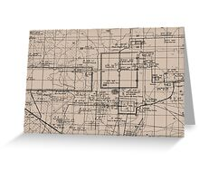 Old Map, Thma Puok District, Cambodia - Brown  Greeting Card