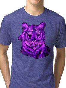 Purple tiger T SHIRT/STICKER Tri-blend T-Shirt