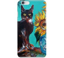SUNFLOWERS WITH BLACK CAT IN BLUE TURQUOISE  iPhone Case/Skin