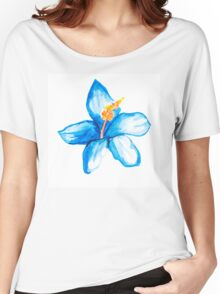 Blue hibiscus flower Women's Relaxed Fit T-Shirt