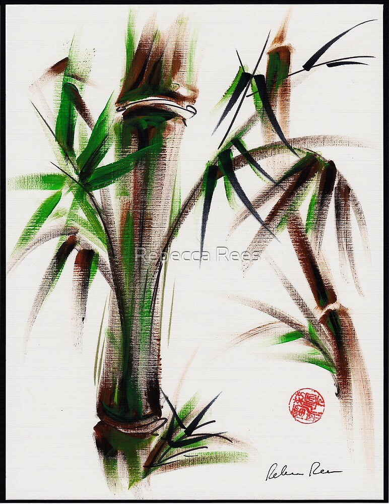 """""""Motu"""" -  acrylic and ink wash painting of bamboo. by Rebecca Rees"""