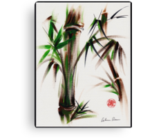 """Motu"" -  acrylic and ink wash painting of bamboo. Canvas Print"