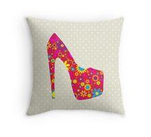 High Heel Shoe, Flowers - Red Yellow Blue  Throw Pillow