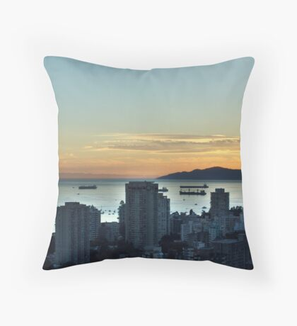 Downtown Vancouver and English Bay Throw Pillow