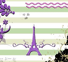 Memories from Paris - Green Purple White  by sitnica