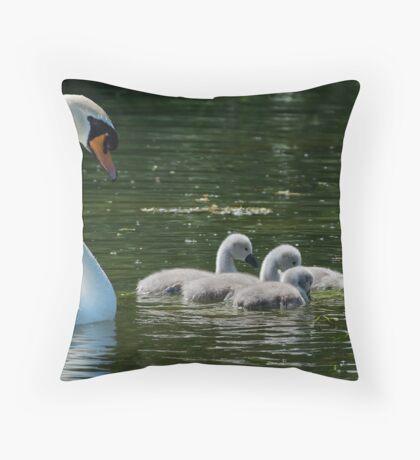 Swan & Cygnets  Throw Pillow