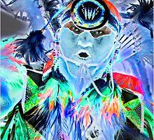 Pow Wow Dancer in Blue by Linda Davidson