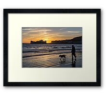 One man and his dog - Weston-Super-Mare Framed Print