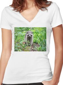 Rainy Day Raccoon Women's Fitted V-Neck T-Shirt