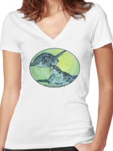 Sea Turtle art Women's Fitted V-Neck T-Shirt