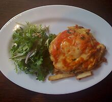 Chicken parmigiana w Garden Salad & Chips by parmaman