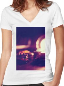 are they small or is the desk really humungous Women's Fitted V-Neck T-Shirt