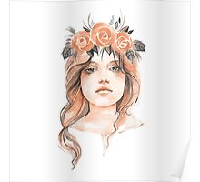 Portrait of a young girl in floral wreath Poster