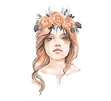 Portrait of a young girl in floral wreath Photographic Print