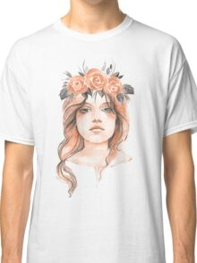 Portrait of a young girl in floral wreath Classic T-Shirt