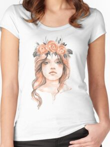 Portrait of a young girl in floral wreath Women's Fitted Scoop T-Shirt