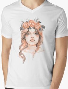 Portrait of a young girl in floral wreath Mens V-Neck T-Shirt