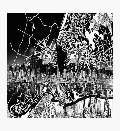 New York  map 2 Photographic Print
