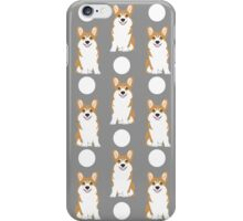 Corgi polka dot pattern grey cute corgi dog for dog people iPhone Case/Skin