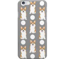 Corgi polka dot pattern grey cute corgi dog for dog people iPhone Case/Skin