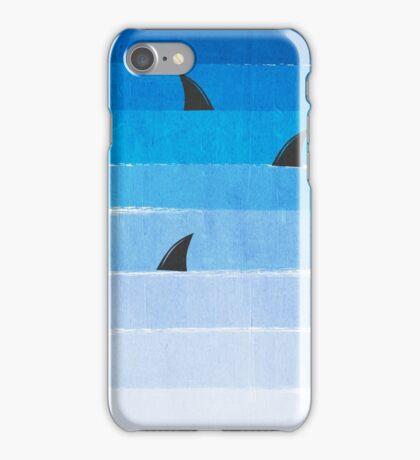 Sharks - shark week trendy black and white minimal kids pattern print ombre blue ocean surfing  iPhone Case/Skin