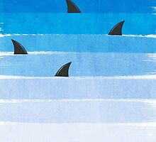 Sharks - shark week trendy black and white minimal kids pattern print ombre blue ocean surfing  by charlottewinter
