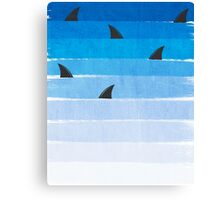 Sharks - shark week trendy black and white minimal kids pattern print ombre blue ocean surfing  Canvas Print