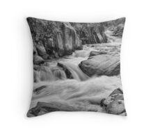 Cascading Colorado Rocky Mountain Stream BW Throw Pillow
