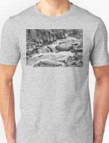 Cascading Colorado Rocky Mountain Stream BW Unisex T-Shirt