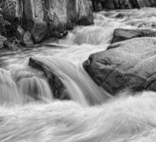 Cascading Colorado Rocky Mountain Stream BW Sticker