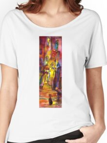 Medieval alley by night in Florence Women's Relaxed Fit T-Shirt