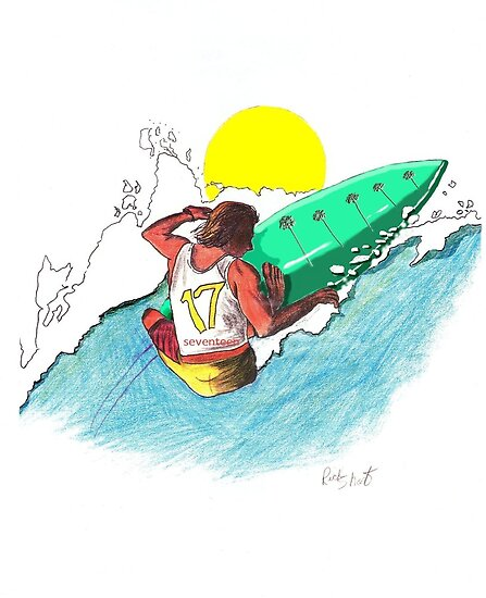 Surfer surfing a wave tube ride hawaii ocean wave surfer graphic design by Rick Short