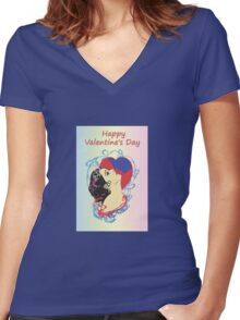 Happy Valentine's Day 1 Women's Fitted V-Neck T-Shirt