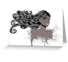 Woman with Long Hair4 Greeting Card