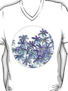 Purple Daisies in Watercolor & Colored Pencil  T-Shirt