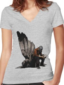 The Angel And The Skull Women's Fitted V-Neck T-Shirt