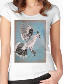 """""""Blue Jay"""" Women's Fitted Scoop T-Shirt"""