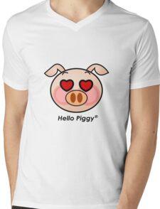 Hello Piggy heart eyes t-shirt Mens V-Neck T-Shirt