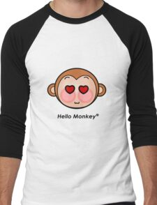 Hello Monkey heart eyes T-shirts Men's Baseball ¾ T-Shirt