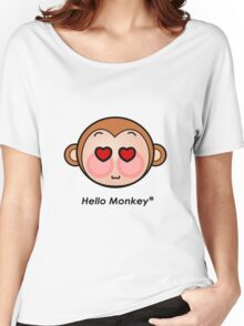 Hello Monkey heart eyes T-shirts Women's Relaxed Fit T-Shirt