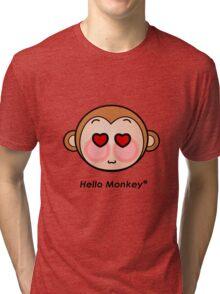 Hello Monkey heart eyes T-shirts Tri-blend T-Shirt